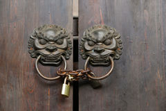 Double lion knobs and lock Stock Photo