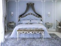 Double lit avec le rideau Images libres de droits