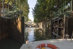 Double lock at Canal Saint-Martin, Paris Stock Photos