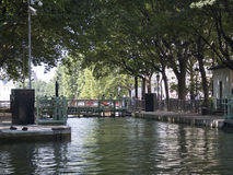Double lock at Canal Saint-Martin, Paris royalty free stock image