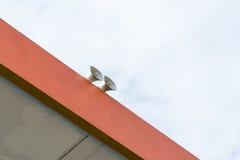 Double loudspeaker. On the top corner of outdoor stadium stock image