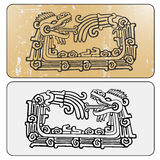 Double maya snake Quetzalcoatl ouroboros. Quetzalcoatl ouroboros, maya symbolic round snake, eating its own tail vector illustration