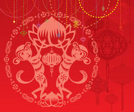 Double Monkey year red lantrtns background illustration. Double Monkey illustration in Chinese paper cut style, with red lanterns background Royalty Free Stock Photography