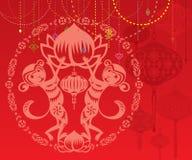 Double Monkey year red lantrtns background illustration Royalty Free Stock Photography