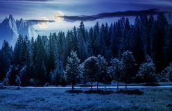 Double moon over the forested landscape at night. In full moon light. composite image with mountain ridge in the distance. astronomy phenomenon and fake news Stock Image