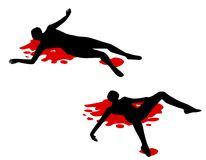 Double Murder Bloody People. A clip art illustration featuring two human figures lying in pools of blood isolated on white Stock Image