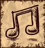 Double music note  on vintage background Royalty Free Stock Photography