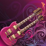 Double neck guitar. Floral composition with red double neck guitar Royalty Free Stock Image
