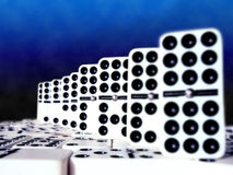Double Nine Dominoes. A set of double nine dominoes that features the double nine tiles Stock Photography