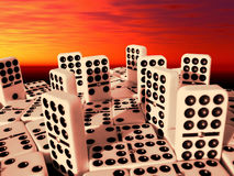 Double Nine Dominoes City. A digital art illustration that represents the weakness and short-life of the modern cities Stock Photos