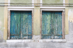 Double old wooden shutters Royalty Free Stock Image