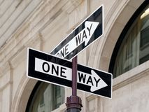Double One Way Direction Sign Road Crossroad. Double or Two One Way Direction Sign Road Crossroad Royalty Free Stock Photo