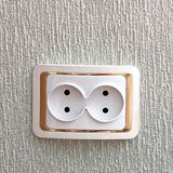 Double outlet. Socket in the wall royalty free stock photo