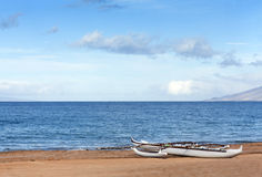 Double-outrigger Hawaiian Canoe Royalty Free Stock Image