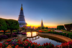Double Pagoda in Doi Inthanon National Park. Pagodas Noppamethanedol & Noppapol Phumsiri in an Inthanon mountain, Thailand Stock Photography