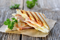 Double panini with ham and cheese Stock Photos