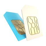 Double phone SIM cards with circuit microchips isolated Stock Photos