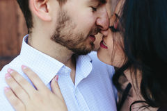 Double photo beautiful young couple Stock Photos