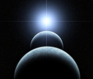Double Planet System with Rising Star Royalty Free Stock Photography