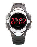 Double plongeur de noir de montre de sport de Digital LED d'affichage de défilement de temps. Photos libres de droits