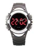 Double plongeur de noir de montre de sport de Digital LED d'affichage de défilement de temps. Photos libres de droits