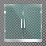 Double porte en verre Portes d'entrée de magasin de mail dans le cadre en acier en métal pour le bureau moderne ou le calibre de  illustration de vecteur