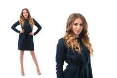 Double portrait of a beautiful adult sensuality woman in black dress posing. stock image