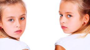 Double portrait of cute girl Stock Photography