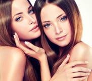 Double portrait des jumeaux magnifiques avec les cheveux sains brillants d'ONG image stock
