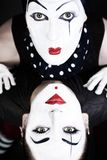 Double portrait mimes with green eyes Royalty Free Stock Photography