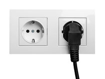 Double power European electric plug isolated on a white. Background royalty free stock image