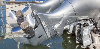 The double propellers behind the boat. Royalty Free Stock Photography