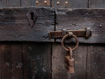 Double protection. Photography of old doors with double closing. Photo taken in a charming village in France Royalty Free Stock Photography