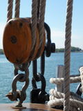 Double Pulley with Sea Background Royalty Free Stock Photos