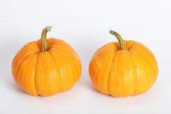 Double Pumpkin. Pumpkins isolated with white background Stock Photos