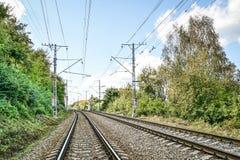 Double rack electrified railway line Stock Photo