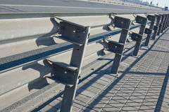 Double rail guards. On the bridge road stock image