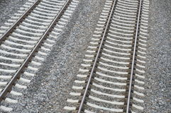 Double railroad track Stock Photo