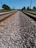 Double railroad tracks to nowhere Stock Photo