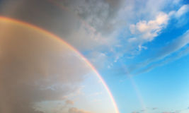 Double rainbow Stock Image