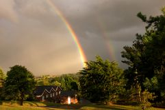 Double rainbow Stock Photo
