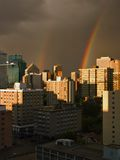 Double Rainbow. A double rainbow over the Edmonton, Alberta skyline royalty free stock photo