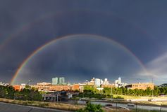 Double rainbow above the downtown skyline in Denver Colorado Royalty Free Stock Photos