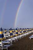 Double rainbow in a beach Royalty Free Stock Photo