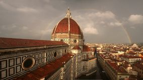 Double Rainbow Behind Duomo Florence Stock Image