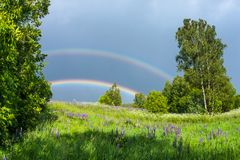 Double rainbow in the blue cloudy sky over green meadow and a forest illuminated by the sun in the country side Stock Image