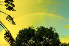 A double rainbow in the caribbean Royalty Free Stock Images