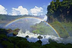 Double rainbow at Iguazu falls in Argentina Royalty Free Stock Photo