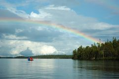 Double rainbow during kayaking in Karelia,Russia Royalty Free Stock Photos