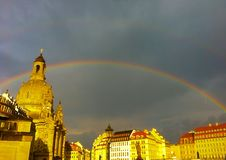 Double rainbow Krauenkirche. Neumarkt, Dresden Germany Stock Photos